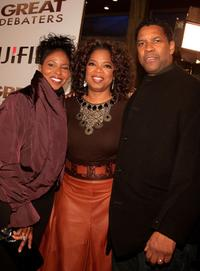 Oprah Winfrey, Pauletta Washington and Denzel Washington at the Los Angeles premiere of