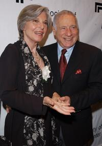 Anne Bancroft and Mel Brooks at the backstage before