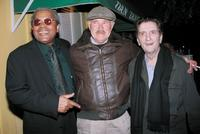 Dabney Coleman, Clarence Williams and Harry Dean Stanton pose outside Dan Tanas restaurant.