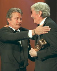 Alain Delon and Gregory Peck 20th Cesar awards ceremony.