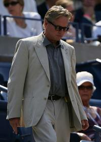 Michael Douglas at the Billie Jean King National Tennis Center for a match between Novak Djokovic of Serbia and David Ferrer of Spain during day thirteen of the 2007 U.S. Open.
