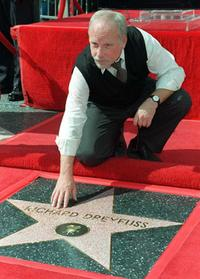 Richard Dreyfuss at the star he received on the Hollywood Walk of Fame.