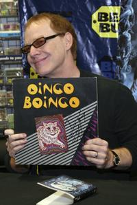 Danny Elfman at an old Oingo Boingo record at the store signing of