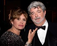 Carrie Fisher and George Lucas at the dinner during the 33rd AFI Life Achievement Award.