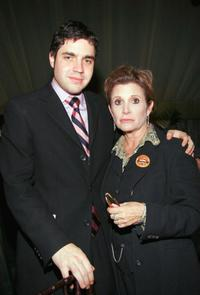 Carrie Fisher and Playwright Noah Haidle at the after party for the Broadway opening of