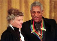 Katharine Hepburn and Dizzy Gillespie at the White House reception.
