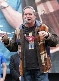 Terry Gilliam leads the general public in the attempt to break the Guinness World Record for the Worlds Largest Coconut Orchestra to celebrate St Georges Day.