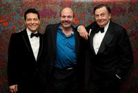Michael Feinstein, director Casey Nicholaw and Barry Humphries at the opening night party for