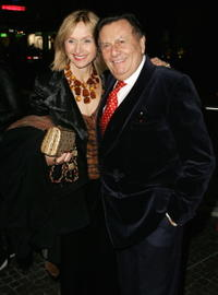 Lizzie Spender and Barry Humphries at the opening night of the music production of