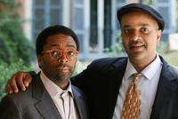 Spike Lee and James McBride poses at Rome for promotion of his film