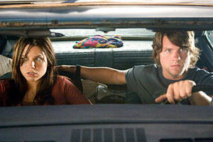 "Sophia Bush and Zachary Knighton in ""The Hitcher."""
