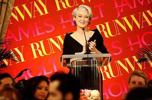 "Miranda Priestly (Meryl Streep) is the center of attention at a major fashion show in ""The Devil Wears Prada."""