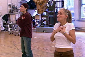 "Idina Menzel and Kristin Chenoweth rehearse for ""Wicked"" in ""ShowBusiness: The Road to Broadway."""