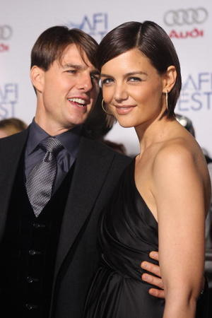 "Tom Cruise and Katie Holmes at the AFI premiere of ""Lions for Lambs."""