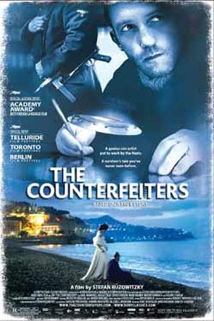 """Poster art for """"The Counterfeiters."""""""