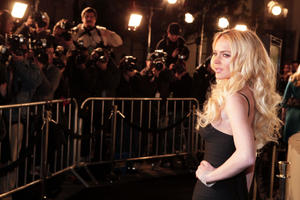 "Lindsay Lohan at the ""Cloverfield"" premiere on the Paramount lot in Los Angeles."