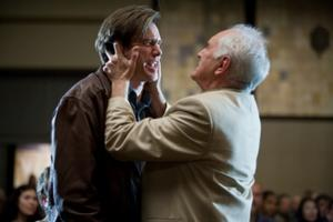 "Jim Carrey as Carl Allen and Terence Stamp as Terrence Bundly in ""Yes Man."""