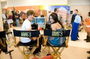 "Zac Efron and Vanessa Hudgens on the set of ""High School Musical 3: Senior Year."""