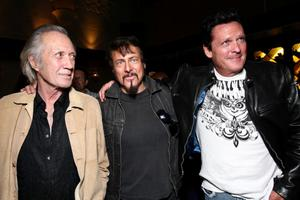 "David Carradine, Writer/Director Larry Bishop and Michael Madsen at the after party of the California premiere of ""Hell Ride."""