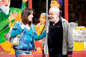 "Sally Hawkins and Mike Leigh in ""Happy-Go-Lucky."""