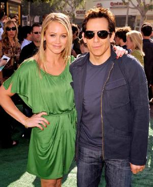 "Christine Taylor and Ben Stiller at the California premiere of ""Madagascar: Escape 2 Africa."""