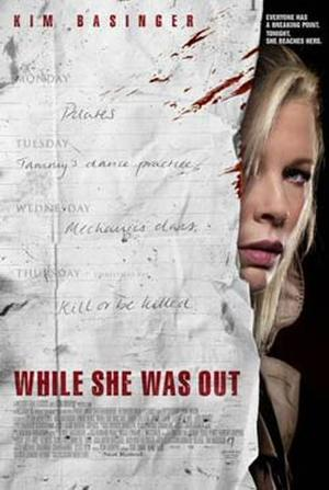 """Poster art for """"While She Was Out."""""""