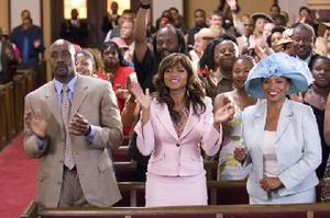 "Morris Chestnut as Dave Johnson, Taraji P. Henson as Clarice Clark and Jenifer Lewis as Mary ""Mama"" Clark in ""Not Easily Broken."""