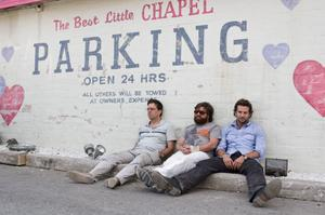 "Ed Helms as Stu, Zach Galifianakis as Alan and Bradley Cooper as Phil in ""Hangover."""