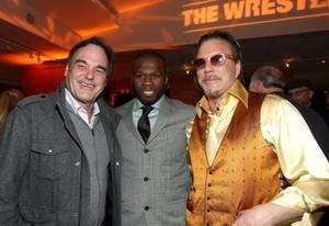 "Director Oliver Stone, Curtis 50 Cent Jackson and Mickey Rourke at the after party of the California premiere of ""The Wrestler."""