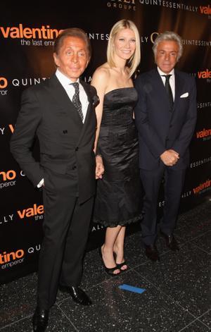 "Valentino Garavani, Gwyneth Paltrow and Giancarlo Giammetti at the New York premiere of ""Valentino: The Last Emperor."""