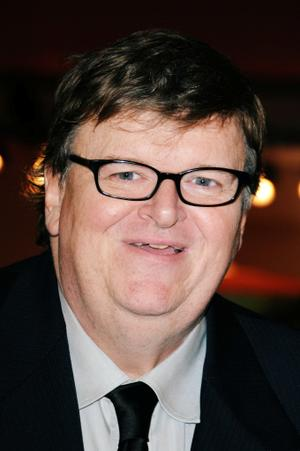 """Michael Moore at the Italy premiere of """"Capitalism: A Love Story."""""""
