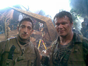 "Adrien Brody and Oleg Taktarov on the set of ""Predators."""