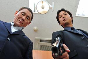 "Takeshi Kitano and Kippei Shiina in ""Outrage."""