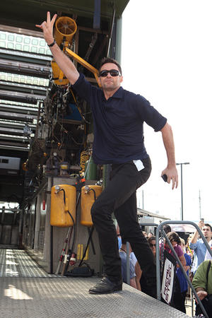 """Hugh Jackman at the Comic Con 2011 of """"Real Steel"""" in San Diego."""