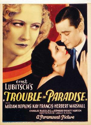 """Poster art for """"Trouble in Paradise."""""""