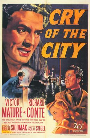 "Poster art for ""Cry of the City."""