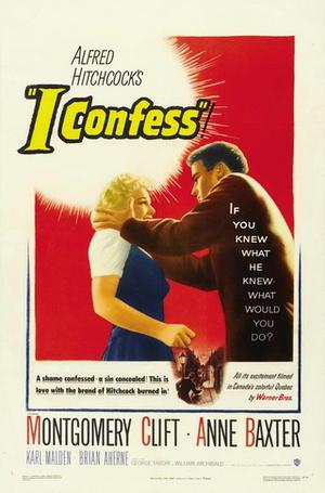 "Poster art for ""I Confess."""