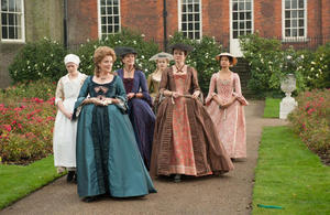 "Miranda Richardson as Lady Ashford, Penelope Wilton as Lady Mary Murray, Sarah Gadon as Elizabeth Murray and Emily Watson as Lady Mansfield in ""Belle."""