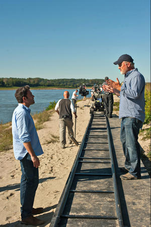 """Ben Affleck and director David Fincher on the set of """"Gone Girl."""""""