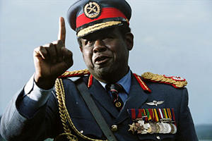 """Forest Whitaker as Idi Amin in """"The Last King of Scotland."""""""