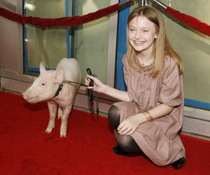 """""""Charlotte's Web"""" actress Dakota Fanning and Wilbur at the L.A. premiere."""
