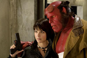 "Selma Blair and Ron Perlman in ""Hellboy II: The Golden Army."""