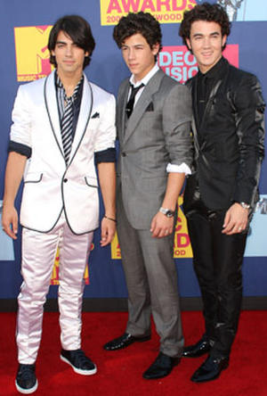 Joe Jonas, Nick Jonas and Kevin Jonas of The Jonas Brothers at the 2008 MTV Video Music Awards.