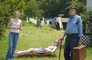 "Carrie Preston as Ludie, Mia Wasikowska as Pamela and Hal Holbrook as Abner Meecham in ""That Evening Sun."""