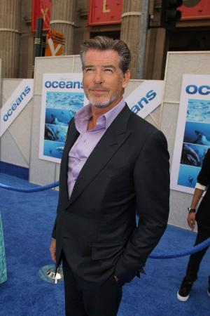 "Pierce Brosnan at the premiere of ""Oceans."""