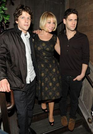 "Jesse Eisenberg, Ari Graynor and Justin Bartha at the after party of the New York premiere of ""Holy Rollers."""