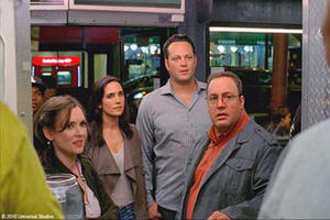 "Winona Ryder as Geneva, Jennifer Connelly as Beth, Vince Vaughn as Ronny and Kevin James as Nick in ""The Dilemma."""