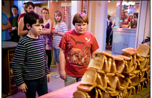 "Zachary Gordon as Greg Heffley and Robert Capron as Rowley in ""Diary of a Wimpy Kid 2: Rodrick Rules."""