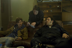 "Luke Treadaway, director Joe Cornish and Nick Frost on the set of ""Attack The Block."""
