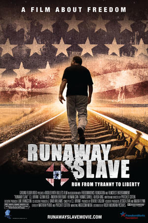 "Poster art for ""Runaway Slave."""